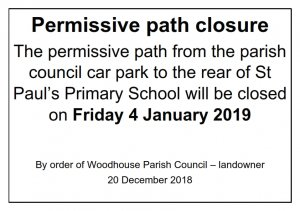 Permissive path closure 4 Jan 2019