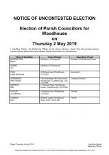 Woodhouse Parish Council election results 2019