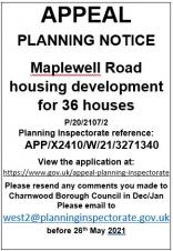 PLANNING APPEAL - 36 HOUSES OFF MAPLEWELL ROAD